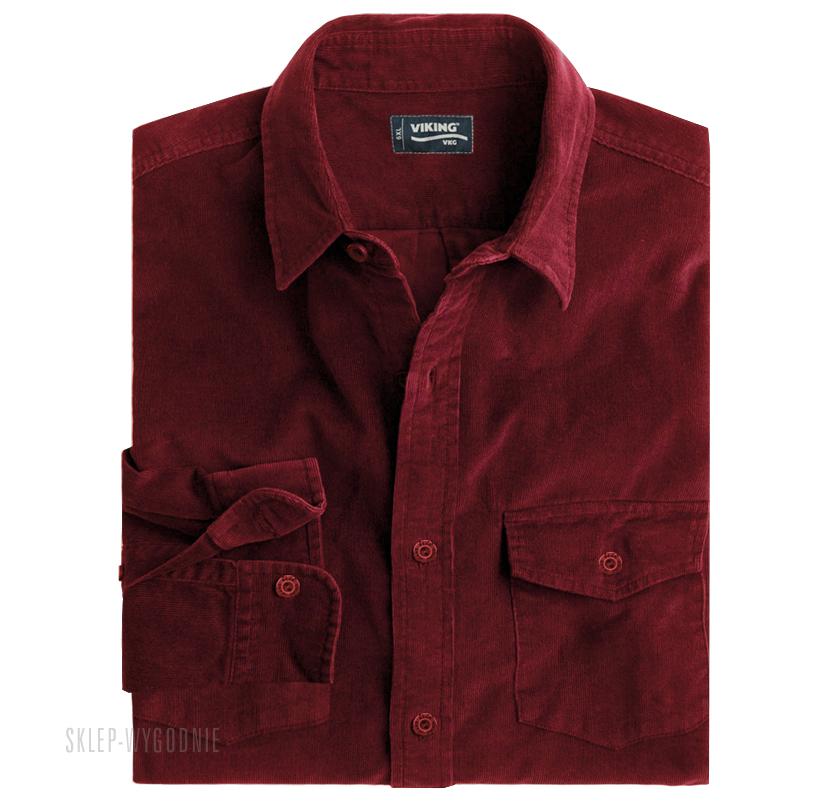 123Koszule Koszula Sztruksowa Viking Czerwona – sklep z